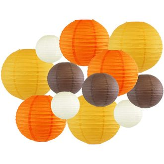 Decorative Fall Round Chinese Paper Lanterns 12pcs Assorted Sizes & Colors (Color: Sweater Weather) - Premier