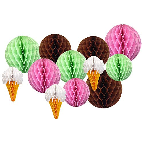 Decorative Ice Cream Party Tissue Paper Honeycomb Balls (Color: Mint Chocolate Chip) - Premier