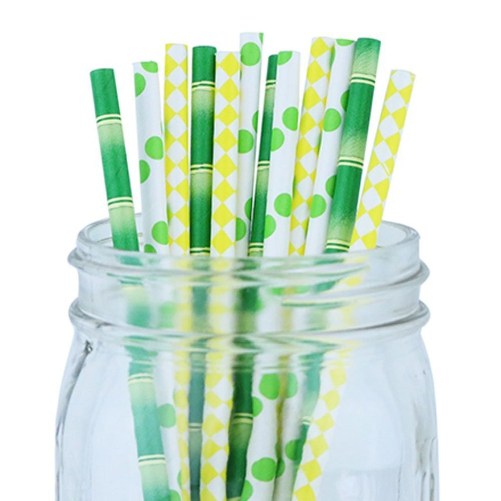 Decorative Party Paper Straws 100pcs Assorted Color & Pattern � Bamboo/Green/Yellow - Premier