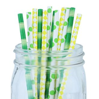 Decorative Party Paper Straws 100pcs Assorted Color & Pattern – Bamboo/Green/Yellow - Premier