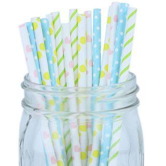 Decorative Party Paper Straws 100pcs Assorted Color & Pattern – Blue/Pink/Kiwi/Yellow - Premier