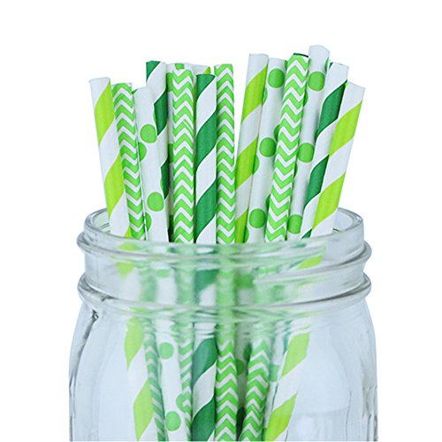 Decorative Party Paper Straws 100pcs Assorted Color & Pattern � Forest/Kiwi Green - Premier