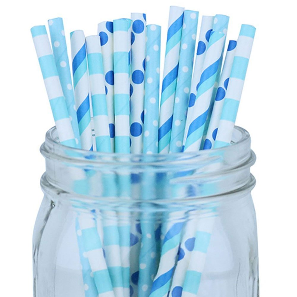 Decorative Party Paper Straws 100pcs Assorted Color & Pattern � Light Blue/Aqua/Blue - Premier