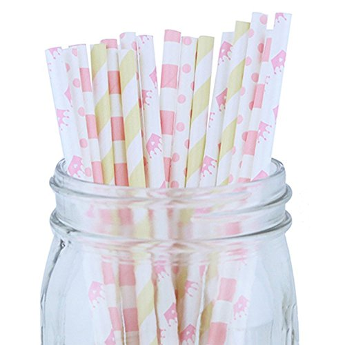 Decorative Party Paper Straws 100pcs Assorted Color & Pattern � Light Pink/Ivory - Premier