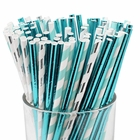 Decorative Party Paper Straws 100pcs Assorted Color & Pattern� Metallic Silver/Blues - Premier
