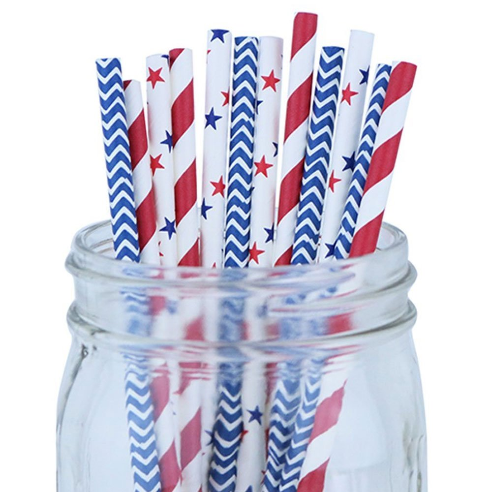 Decorative Party Paper Straws 100pcs Assorted Color & Pattern � Red/Blue/Stars - Premier