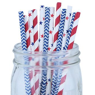 Decorative Party Paper Straws 100pcs Assorted Color & Pattern – Red/Blue/Stars - Premier