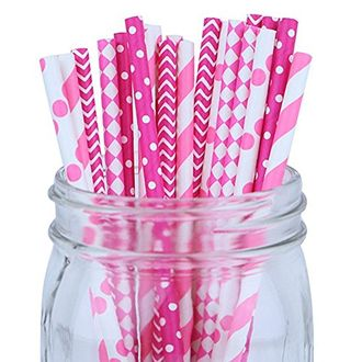 Decorative Party Paper Straws 125pcs Assorted Color & Pattern– Bubblegum Pink/Fuchsia - Premier