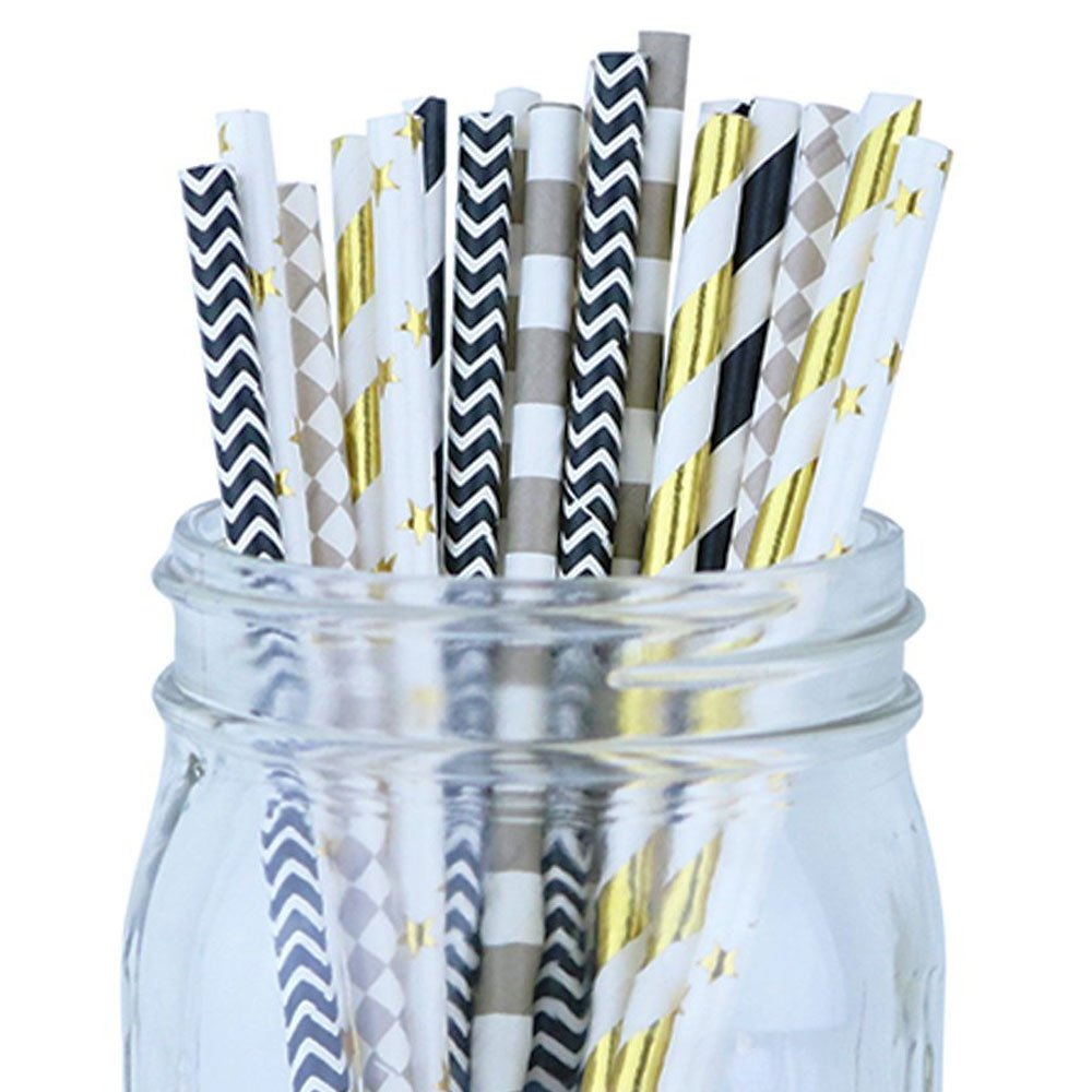 Decorative Party Paper Straws 150pcs Assorted Color & Pattern � Black/Gold/Gray - Premier