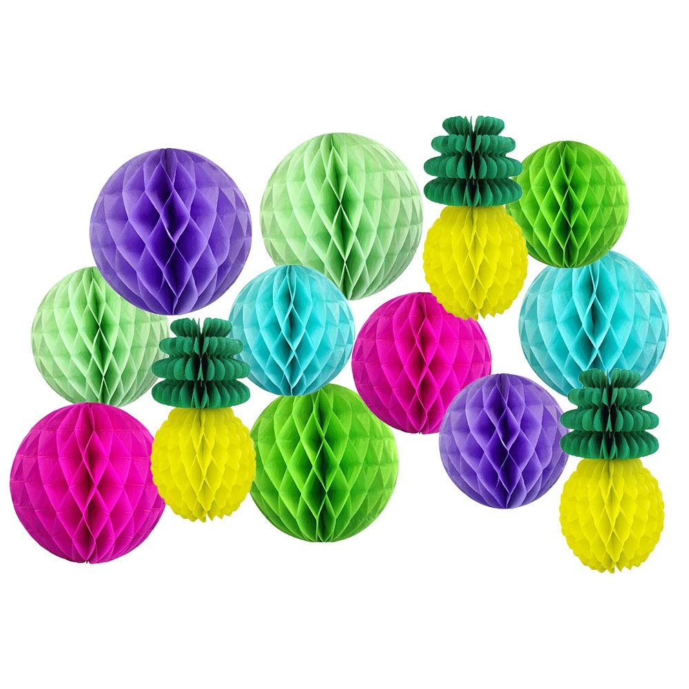 Decorative Pineapple Party Tissue Paper Honeycomb Balls (Color: Tropical 4) - Premier