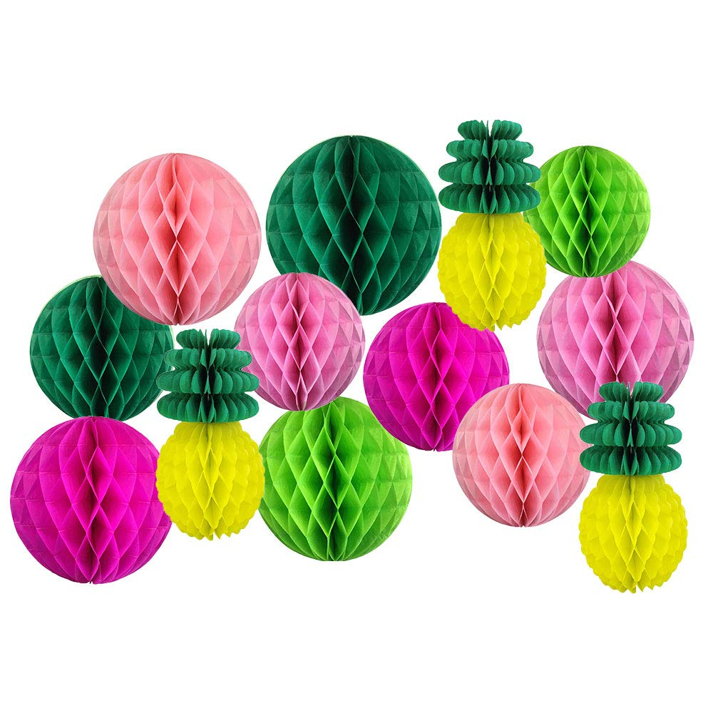 Decorative Pineapple Party Tissue Paper Honeycomb Balls (Color: Tropical 5) - Premier