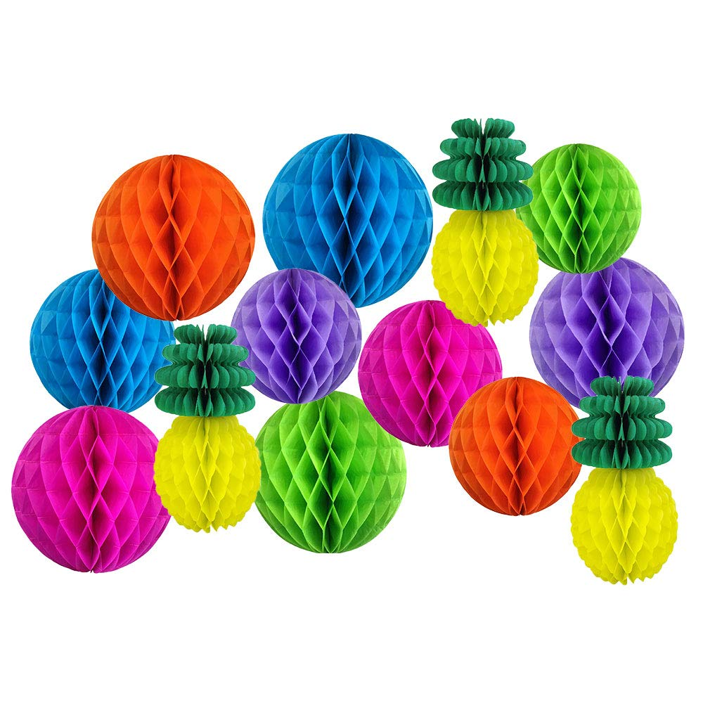 Decorative Pineapple Party Tissue Paper Honeycomb Balls (Color: Tropical 6) - Premier