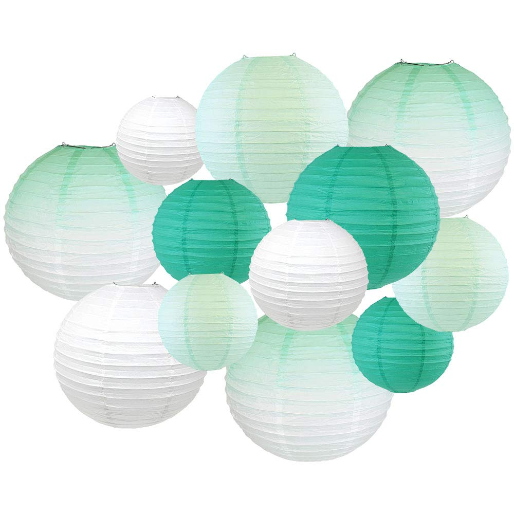 Decorative Round 12pcs Assorted Ombre Paper Lanterns (Color: Mint Ombre) - Premier