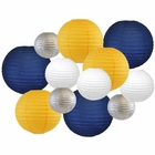 Decorative Round 12pcs Assorted Paper Lanterns (Color: Navy, Pineapple, Silver, and White) - Premier