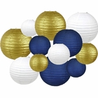Decorative Round 12pcs Assorted Paper Lanterns (Color: Navy, White, and Gold) - Premier