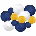Decorative Round 12pcs Assorted Paper Lanterns (Color: Navy, White, and Pineapple) - Premier