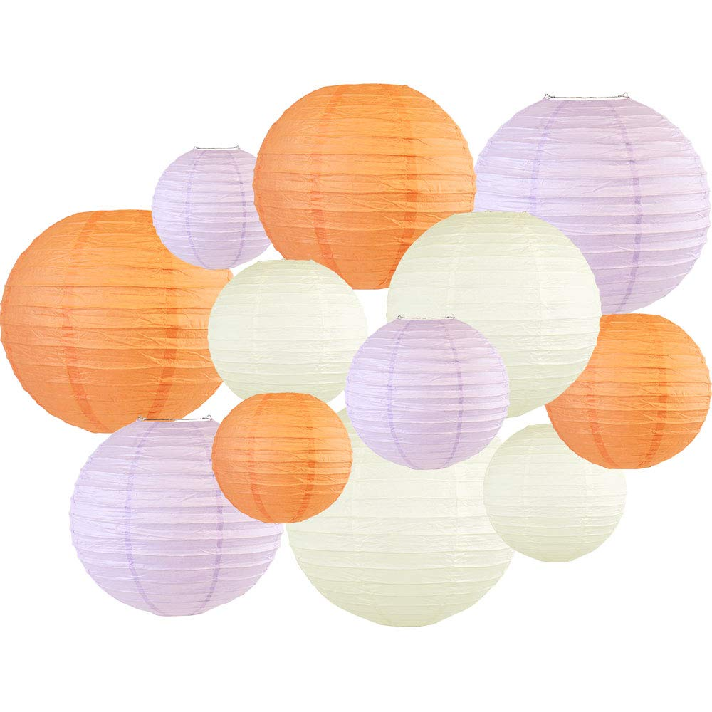 Decorative Round 12pcs Assorted Paper Lanterns (Color: Peach & Lavender) - Premier