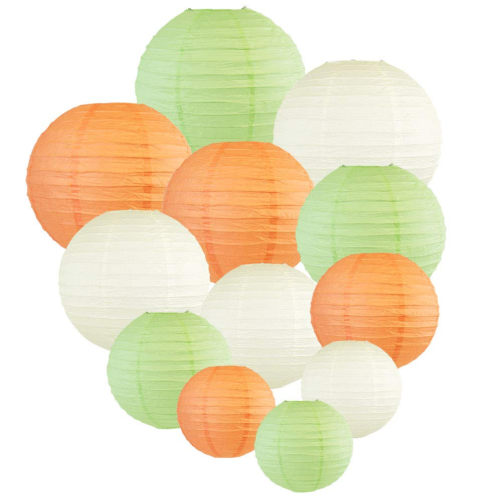 Decorative Round 12pcs Assorted Paper Lanterns (Color: Peach & Mint) - Premier