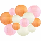 Decorative Round 12pcs Assorted Paper Lanterns (Color: Peach & Pale Pink) - Premier