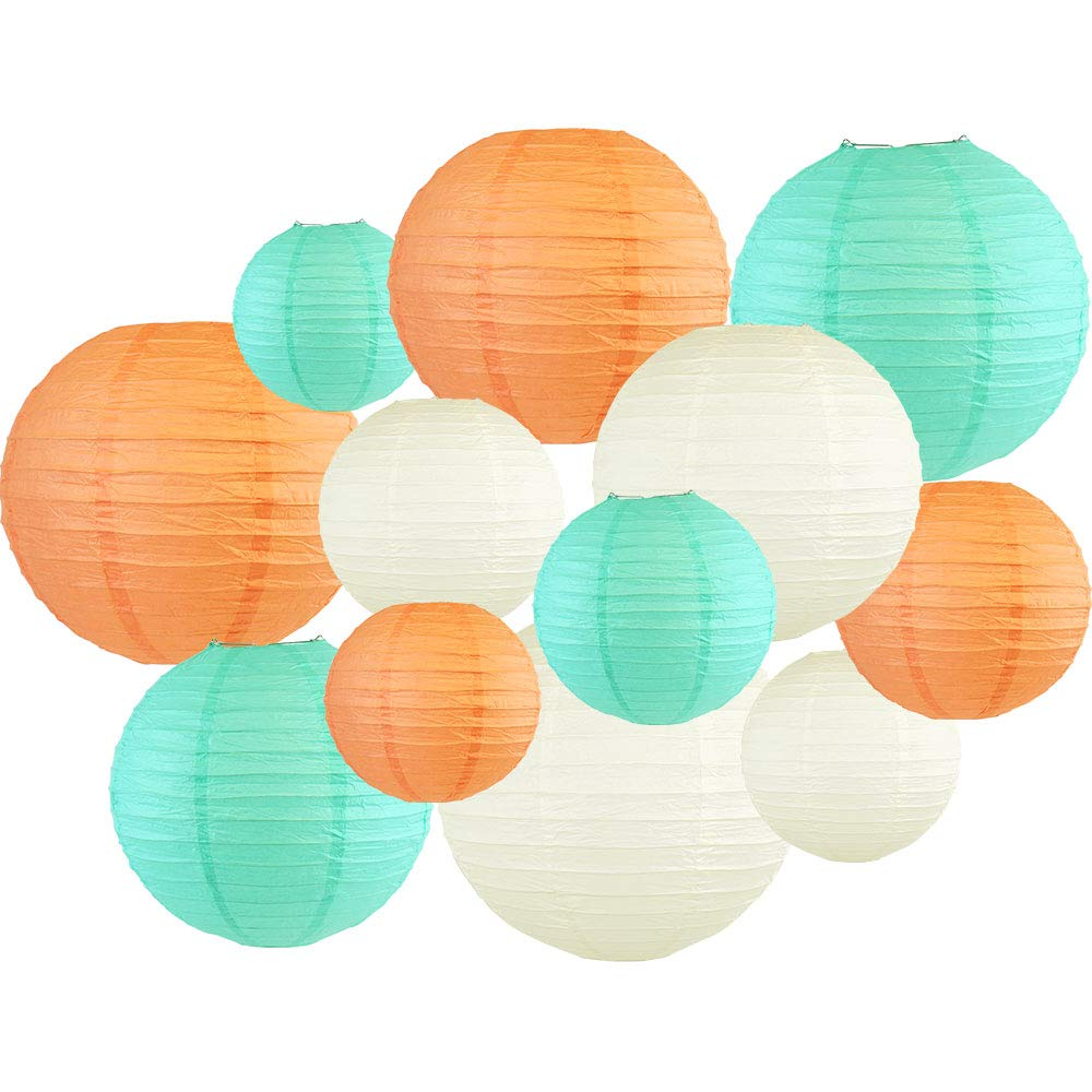 Decorative Round 12pcs Assorted Paper Lanterns (Color: Peach & Seafoam) - Premier