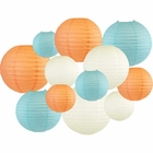 Decorative Round 12pcs Assorted Paper Lanterns (Color: Peach & Sky Blue) - Premier