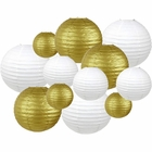 Decorative Round 12pcs Assorted Paper Lanterns (Color: White & Gold) - Premier
