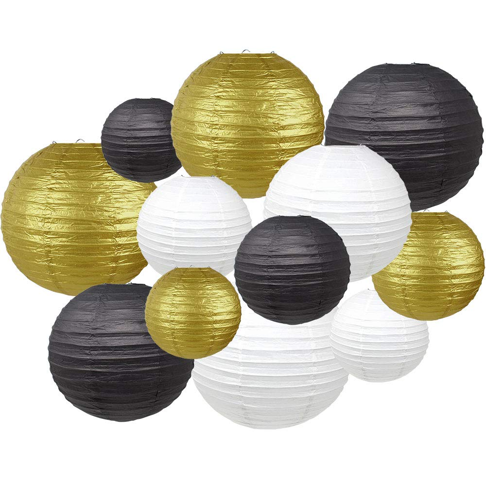 Decorative Round 12pcs Assorted Paper Lanterns (Color: White, Gold, and Black) - Premier