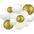 Decorative Round 12pcs Assorted Paper Lanterns (Color: White, Gold, and Ivory) - Premier