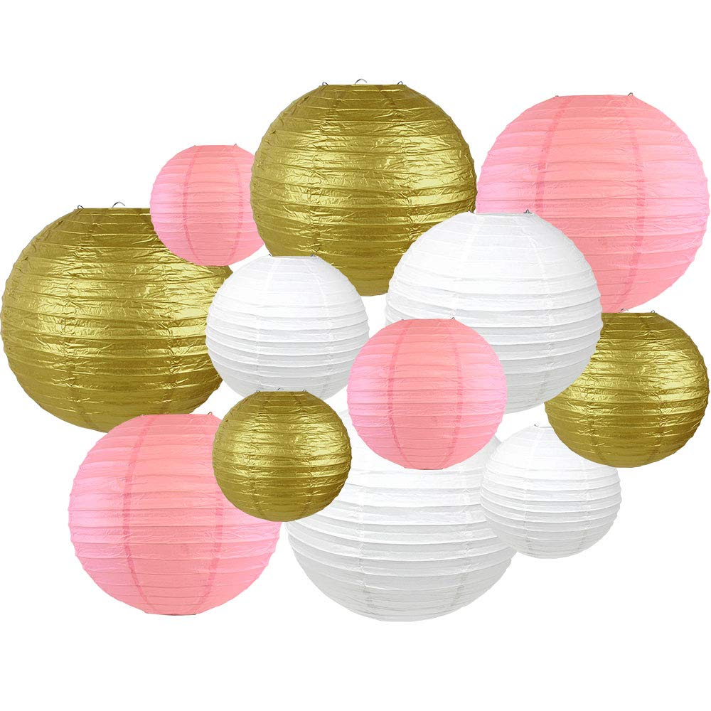 Decorative Round 12pcs Assorted Paper Lanterns (Color: White, Gold, and Pink) - Premier