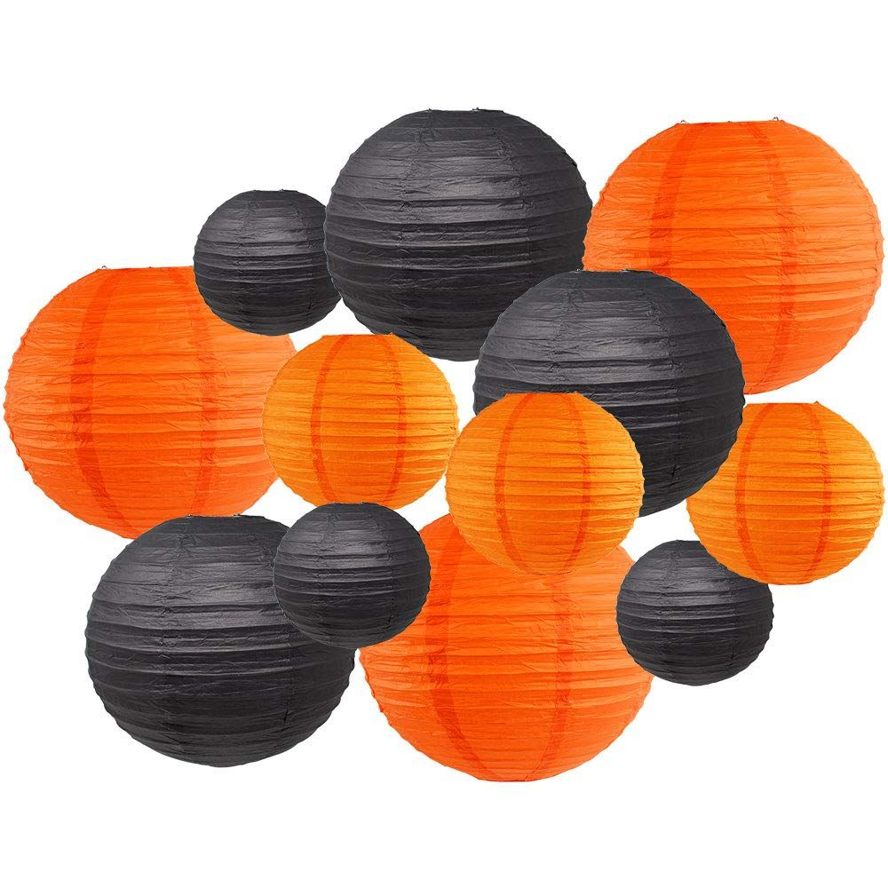 Decorative Round Chinese Paper Lanterns 12pcs Assorted Sizes & Colors (Color: Halloween) - Premier