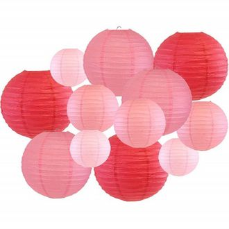 Decorative Round Chinese Paper Lanterns 12pcs Assorted Sizes & Colors (Color: Pinks) - Premier