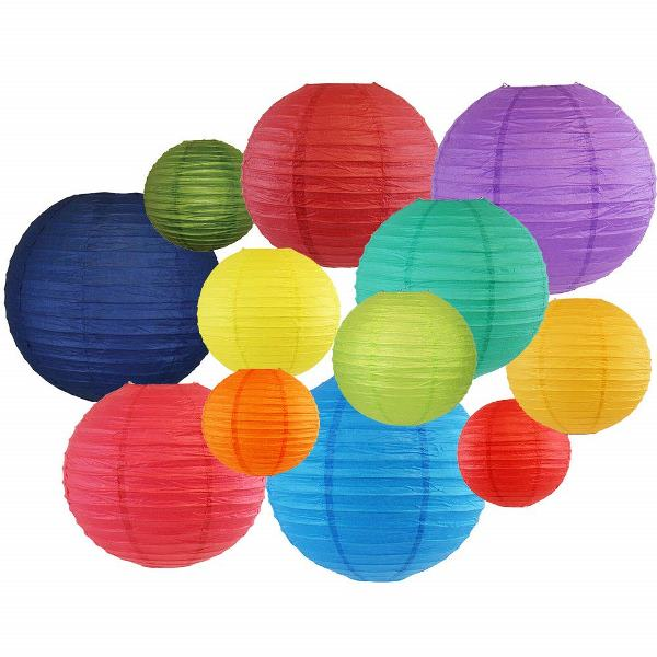 Decorative Round Chinese Paper Lanterns 12pcs Assorted Sizes & Colors (Color: Rainbow) - Premier