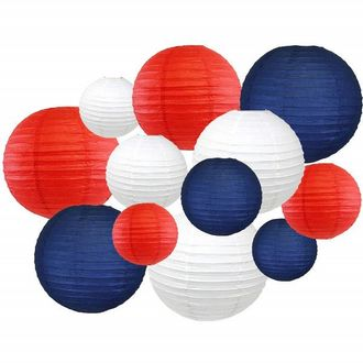 Decorative Round Chinese Paper Lanterns 12pcs Assorted Sizes & Colors (Color: Red, White & Blue) - Premier