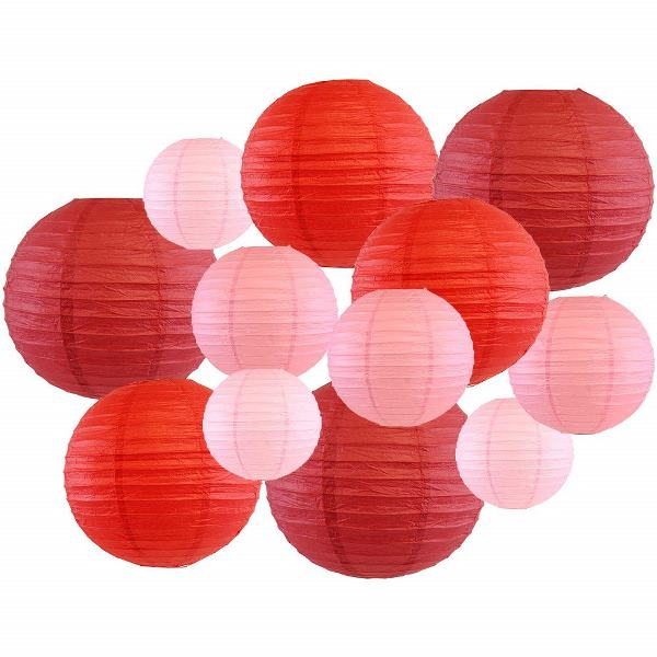 Decorative Round Chinese Paper Lanterns 12pcs Assorted Sizes & Colors (Color: Reds) - Premier
