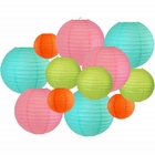 Decorative Round Chinese Paper Lanterns 12pcs Assorted Sizes & Colors (Color: Tropical) - Premier