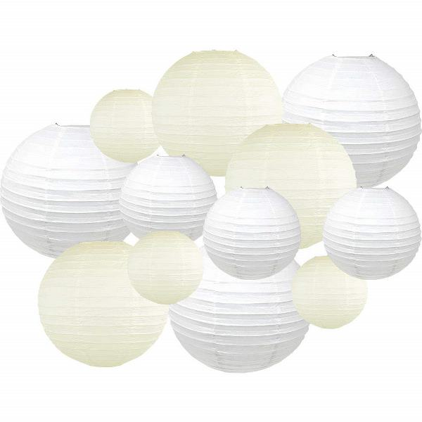 Decorative Round Chinese Paper Lanterns 12pcs Assorted Sizes & Colors (Color: Whites & Ivory) - Premier