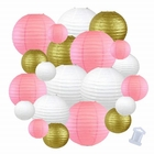Decorative Round Chinese Paper Lanterns 22pcs Assorted Sizes & Colors (Color: Pink and Gold) - Premier