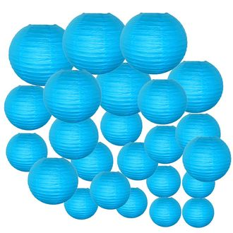 Decorative Round Chinese Paper Lanterns 24pcs Assorted Sizes (Color: Aquamarine Blue)