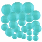 Decorative Round Chinese Paper Lanterns 24pcs Assorted Sizes (Color: Aquamarine Blue) - Premier
