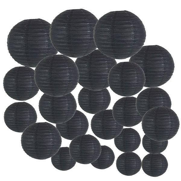 Decorative Round Chinese Paper Lanterns 24pcs Assorted Sizes (Color: Black)