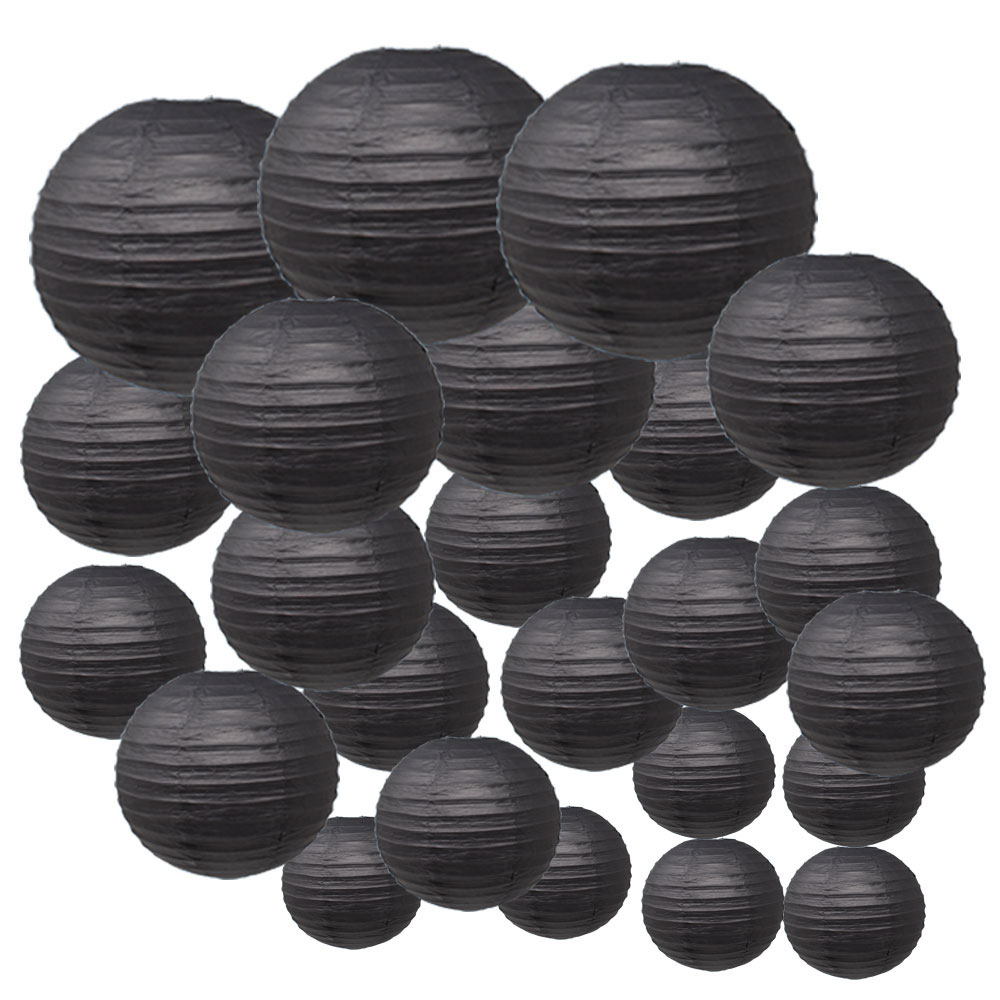 Decorative Round Chinese Paper Lanterns 24pcs Assorted Sizes (Color: Black) - Premier