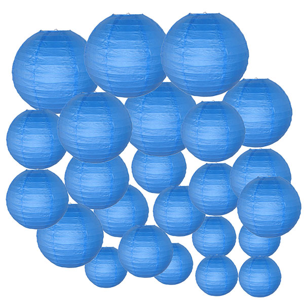 Decorative Round Chinese Paper Lanterns 24pcs Assorted Sizes (Color: Blue)