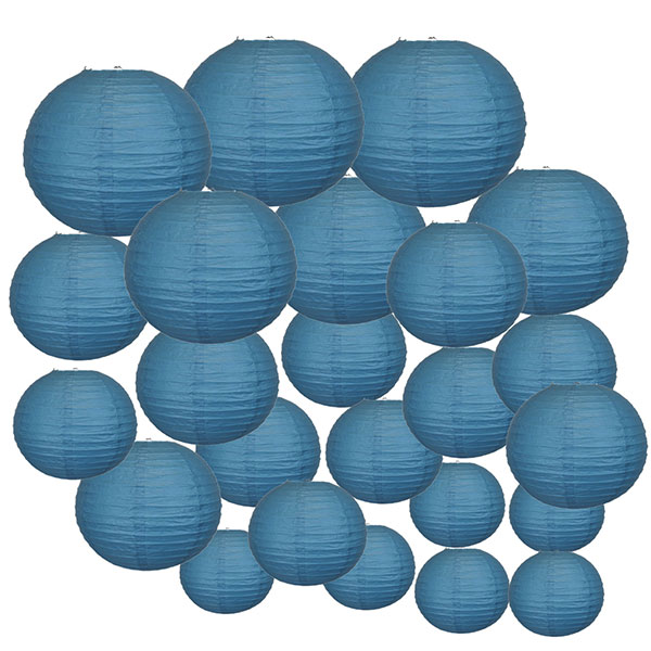 Decorative Round Chinese Paper Lanterns 24pcs Assorted Sizes (Color: Dark Blue)