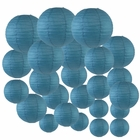 Decorative Round Chinese Paper Lanterns 24pcs Assorted Sizes (Color: Dark Blue) - Premier