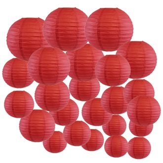 Decorative Round Chinese Paper Lanterns 24pcs Assorted Sizes (Color: Dark Red) - Premier
