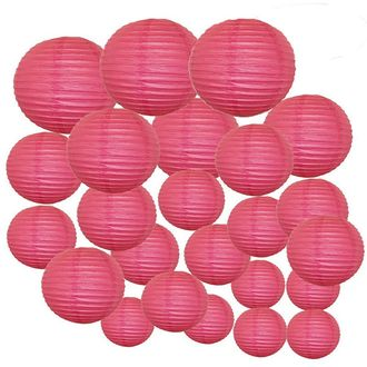 Decorative Round Chinese Paper Lanterns 24pcs Assorted Sizes (Color: Flamingo Pink)