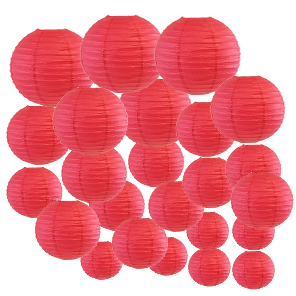 Decorative Round Chinese Paper Lanterns 24pcs Assorted Sizes (Color: Flamingo Pink) - Premier