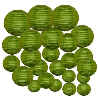 Decorative Round Chinese Paper Lanterns 24pcs Assorted Sizes (Color: Grass Green)