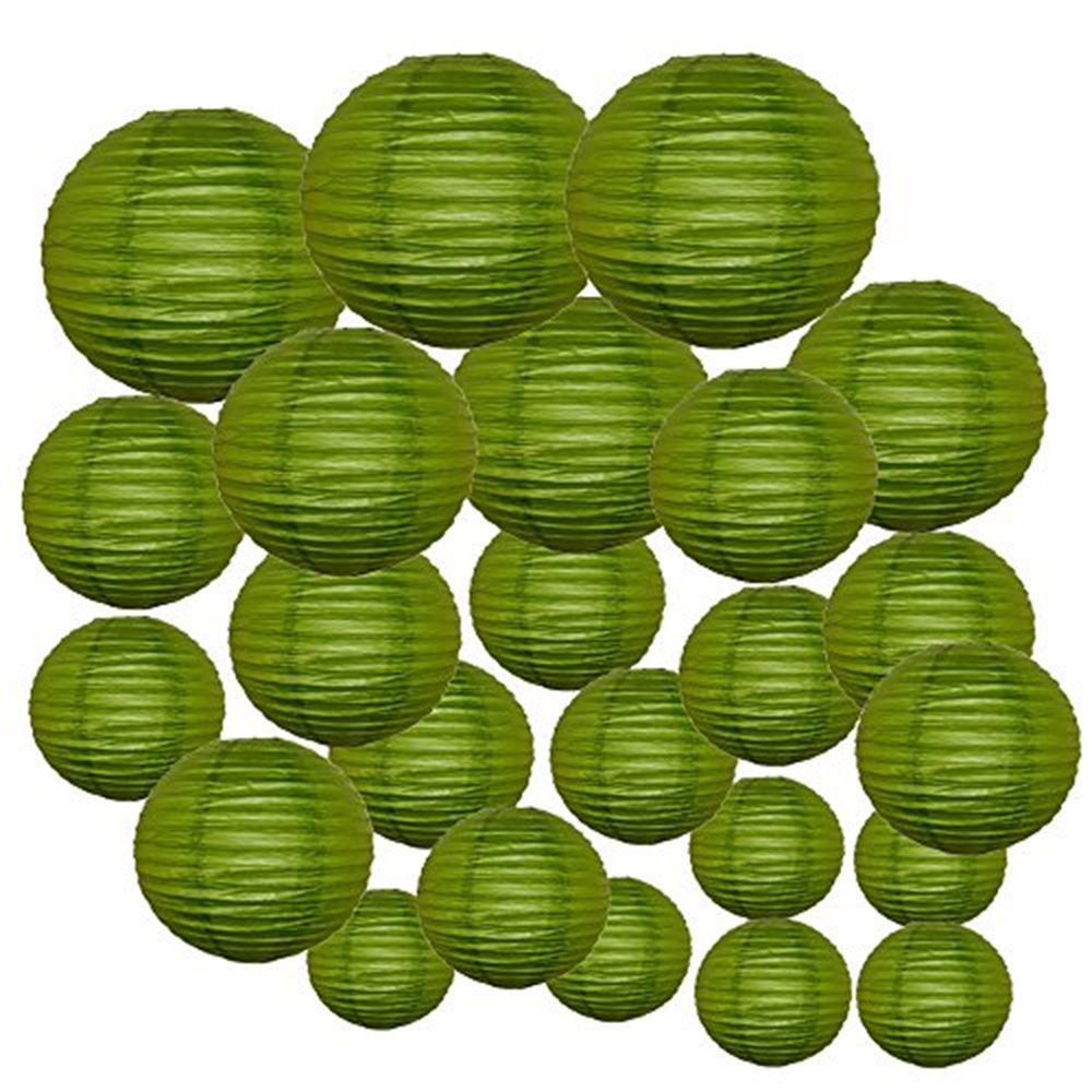 Decorative Round Chinese Paper Lanterns 24pcs Assorted Sizes (Color: Grass Green) - Premier