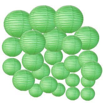 Decorative Round Chinese Paper Lanterns 24pcs Assorted Sizes (Color: Green)